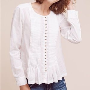 Maeve Gelise White Blouse Pintuck Shirt